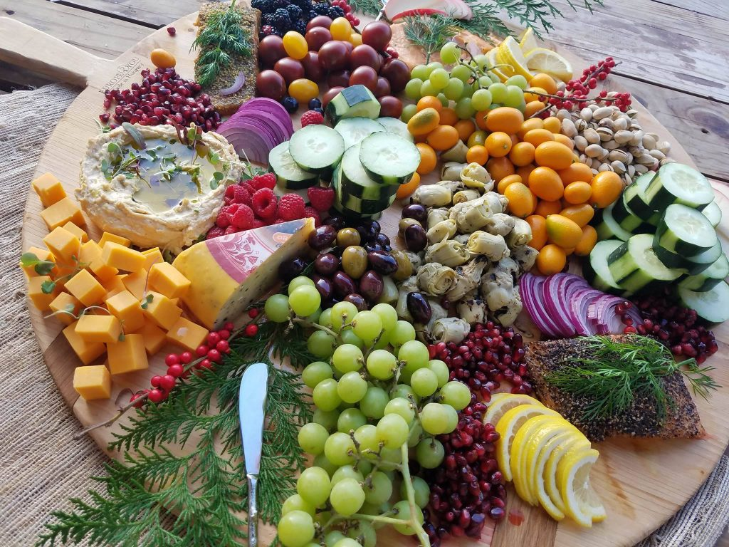 Assorted fruits and vegetables platter