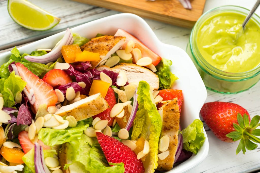 Clean food chicken and strawberry salad