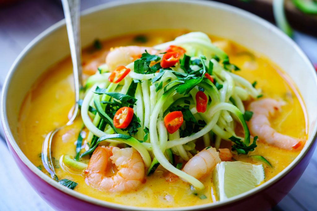 Spicy Shrimp Zucchini Noodle Soup CleanFoodCrush