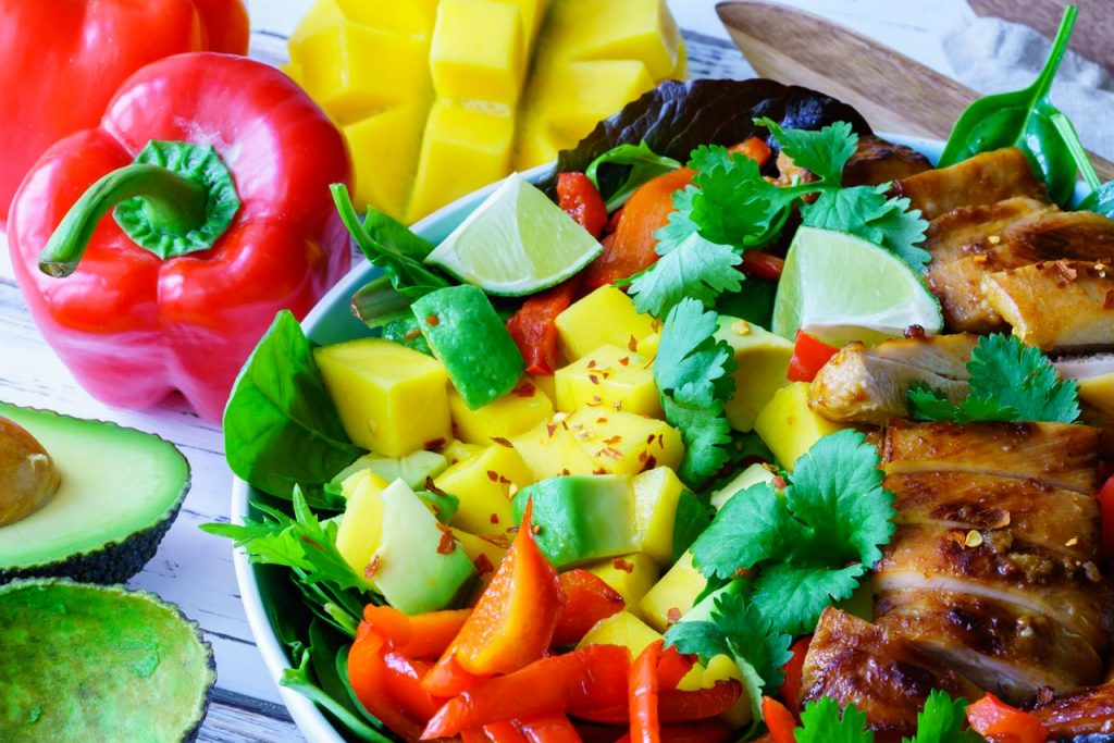 Sweet and sour chicken salad with avocado