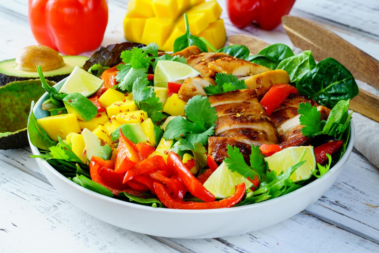 Sweet and Source Chicken Mango Salad with Avocado CleanFoodCrush