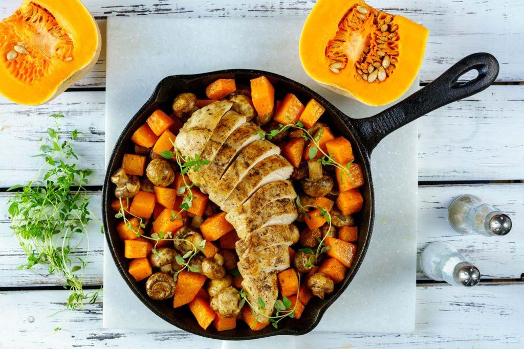 Turkey mushroom squash skillet dish