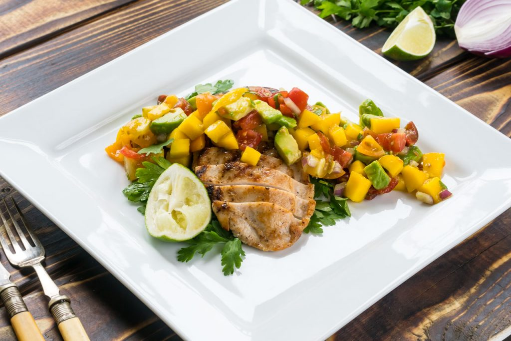 Eat clean diet grilled chicken with mango salsa