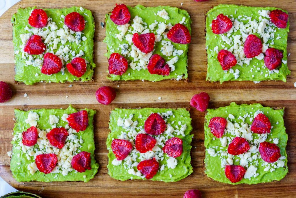 Avocado Raspberry Crumbled Cheese Toast