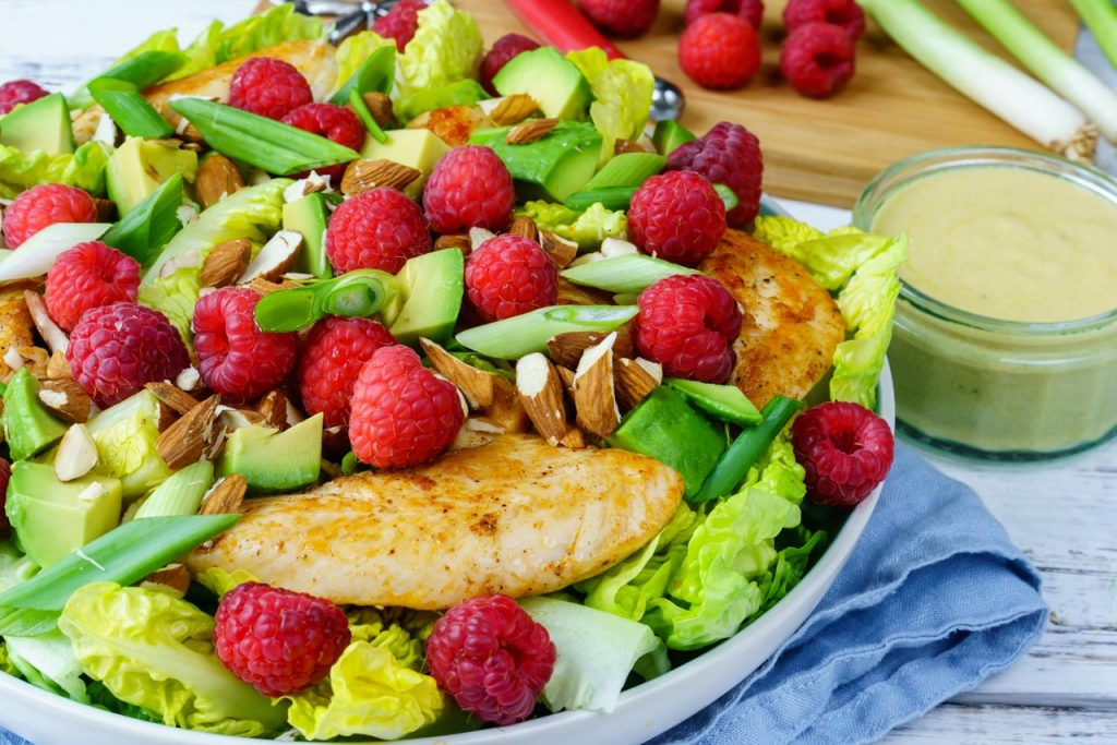Chicken Raspberry Avocado Salad CleanFoodCrush Recipe