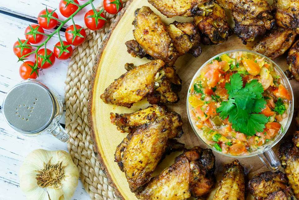 Clean Eating Baked Jerk Chicken Wings Salsa