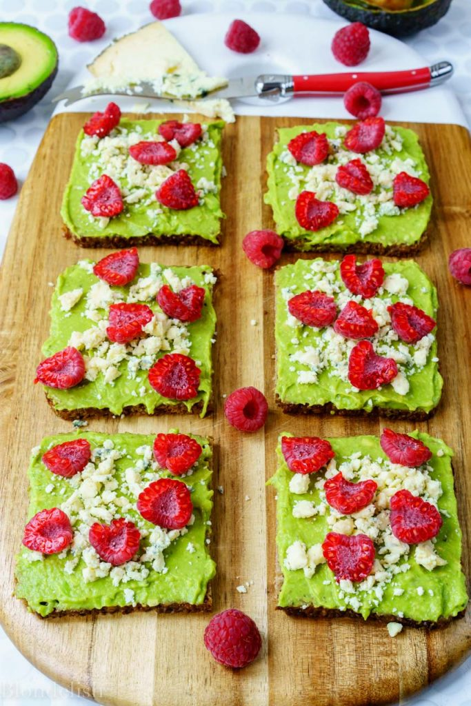 Healthy Avocado topped with Raspberry snack