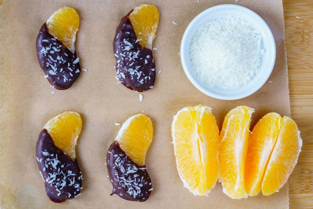 Chocolate Coconut Coated Orange Cuties CleanFoodCrush