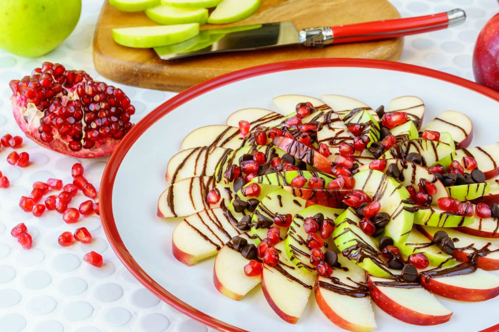 Clean Food Pomegranate Chocolate Apple Nachos