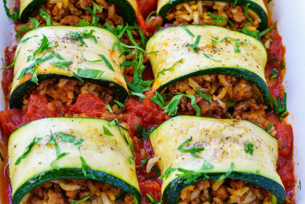 Eat Clean Burrito Stuffed Zucchini Rolls