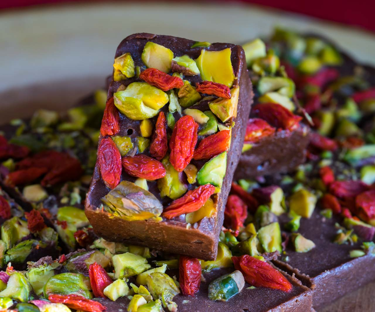 Healthy Pistachio Goji Chocolate Fudge