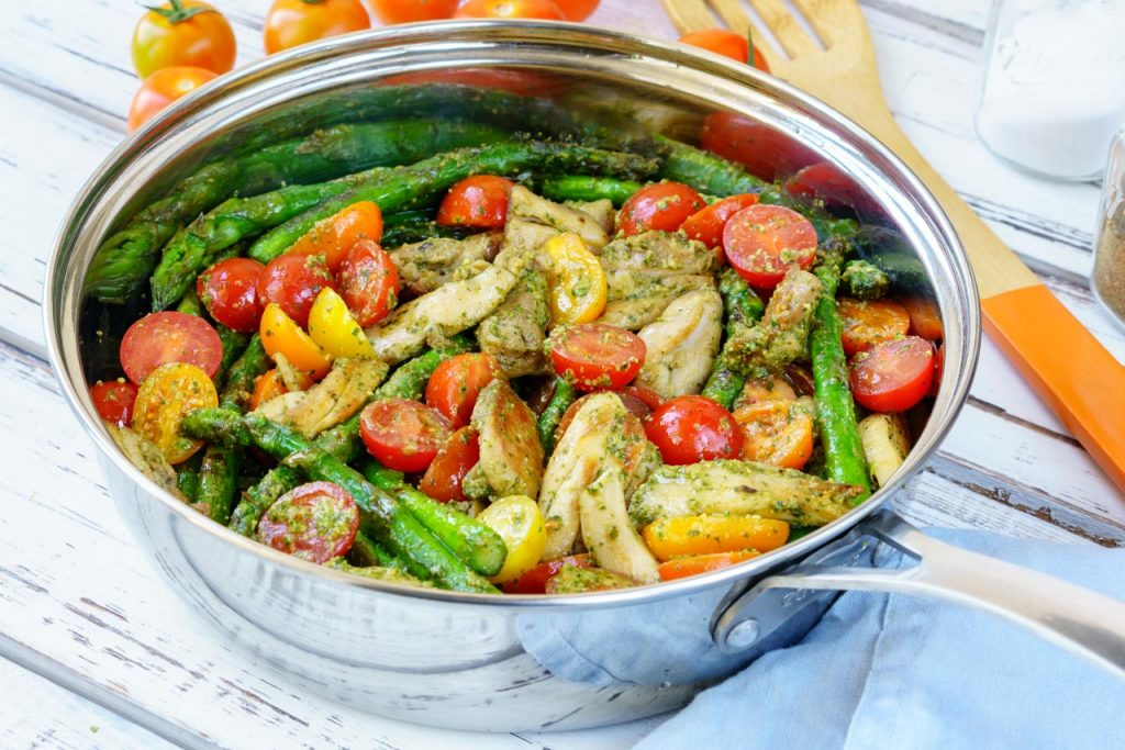 One Pan Pesto Chicken & Veggies