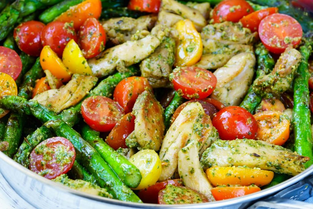 One Pesto Chicken Veggies
