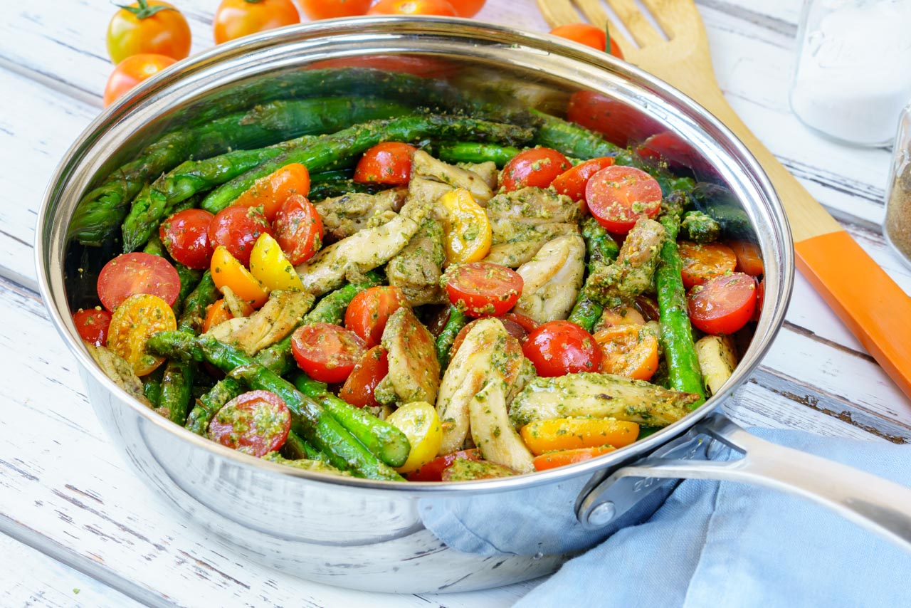 One Pan Pesto Chicken & Veggies