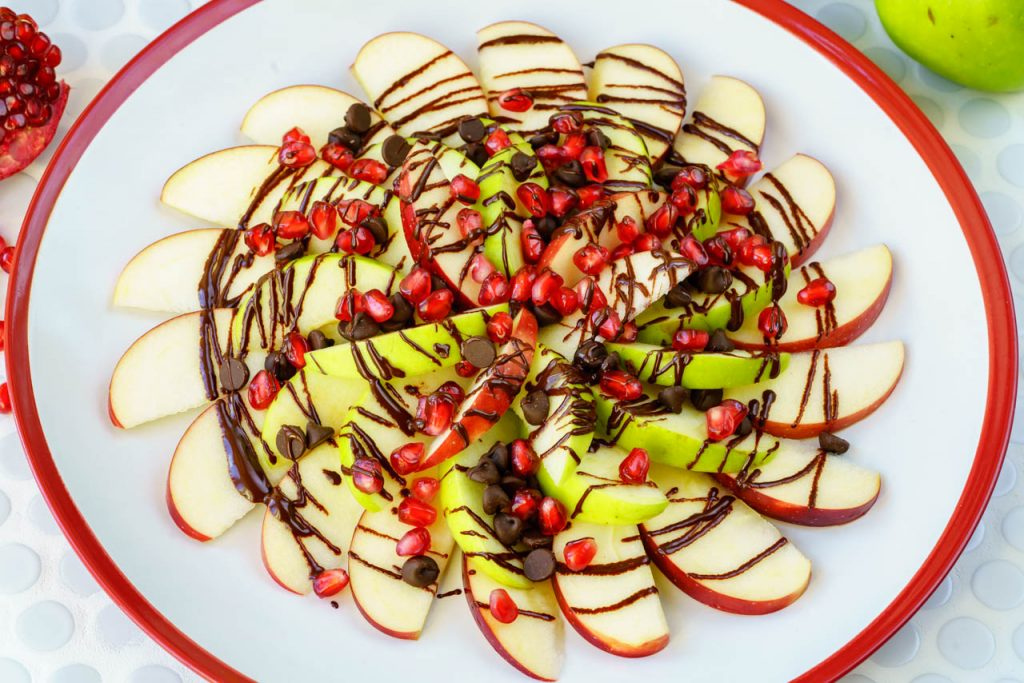 Pomegranate Chocolate Apple Nachos CleanFoodCrush