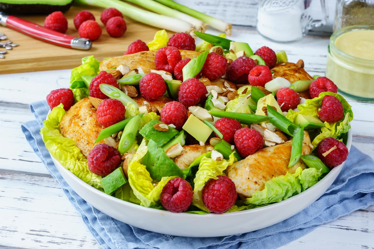 Super Healthy Chicken Avocado Raspberry Salad