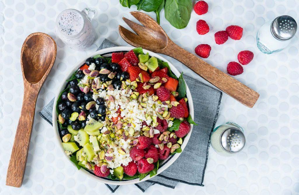 Clean Food Berry Feta Spinach Salad Fresh Strawberry Dressing
