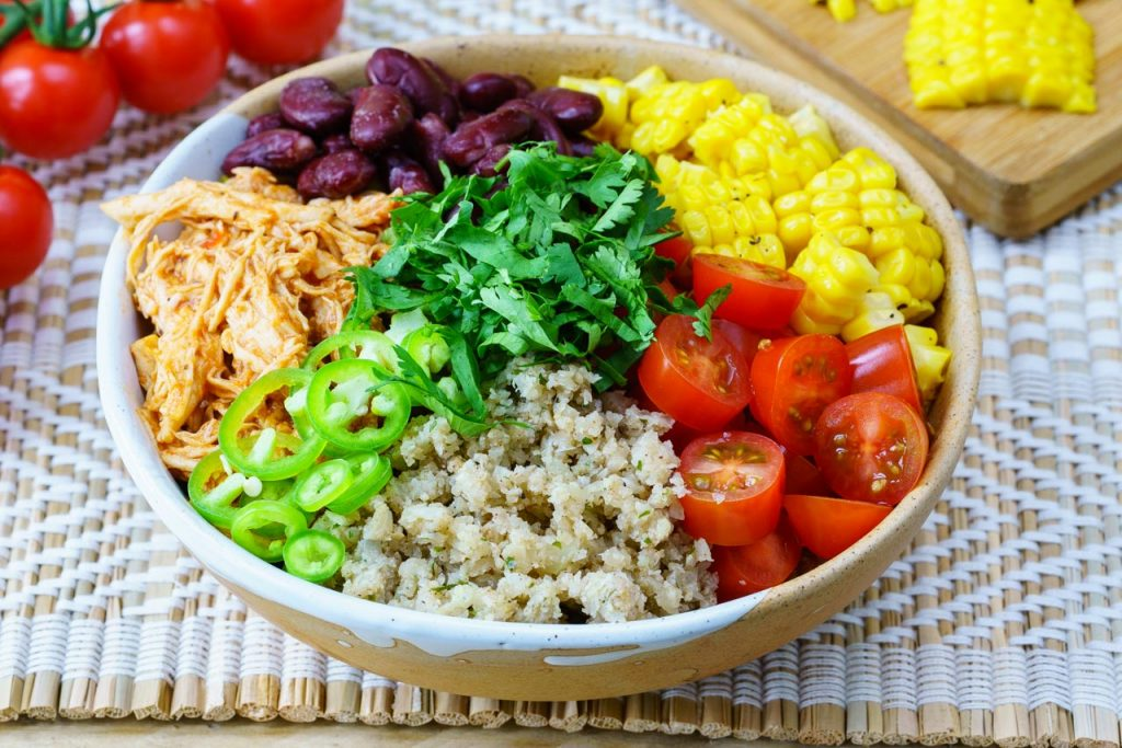 Chicken Enchilada Cauliflower Rice Bowls
