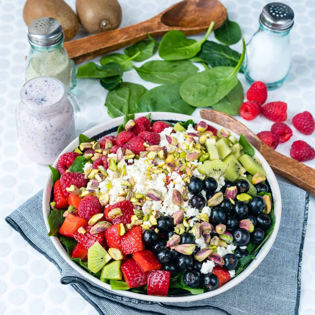 Berry Feta Spinach Salad and Sliced Strawberries