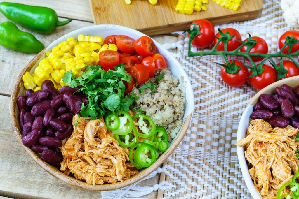Healthy Chicken Enchilada Cauliflower Rice Bowl