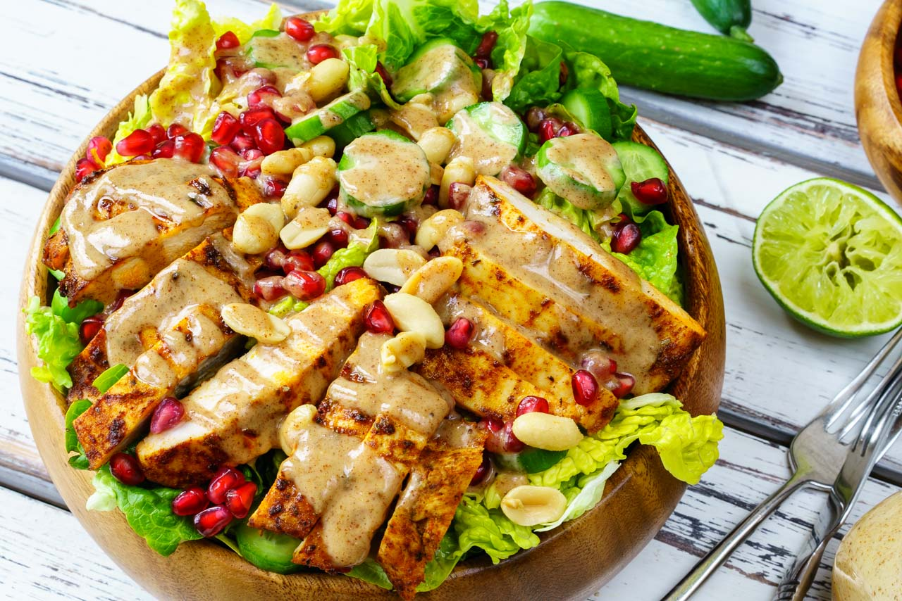 Clean Eating Chicken Satay Salad