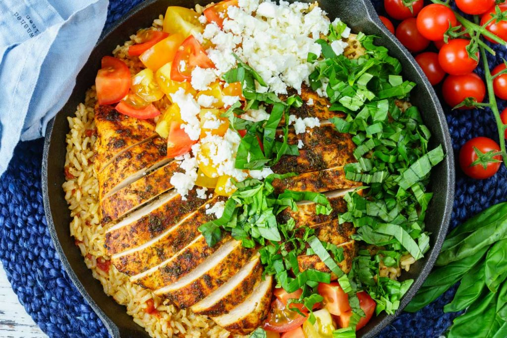 Clean Eating One Pan Greek Chicken Rice