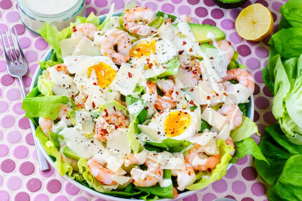 Fresh Garlic Shrimp Caesar Salad
