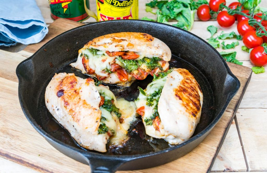 Clean Food Tomato Kale Mozzarella Stuffed Chicken