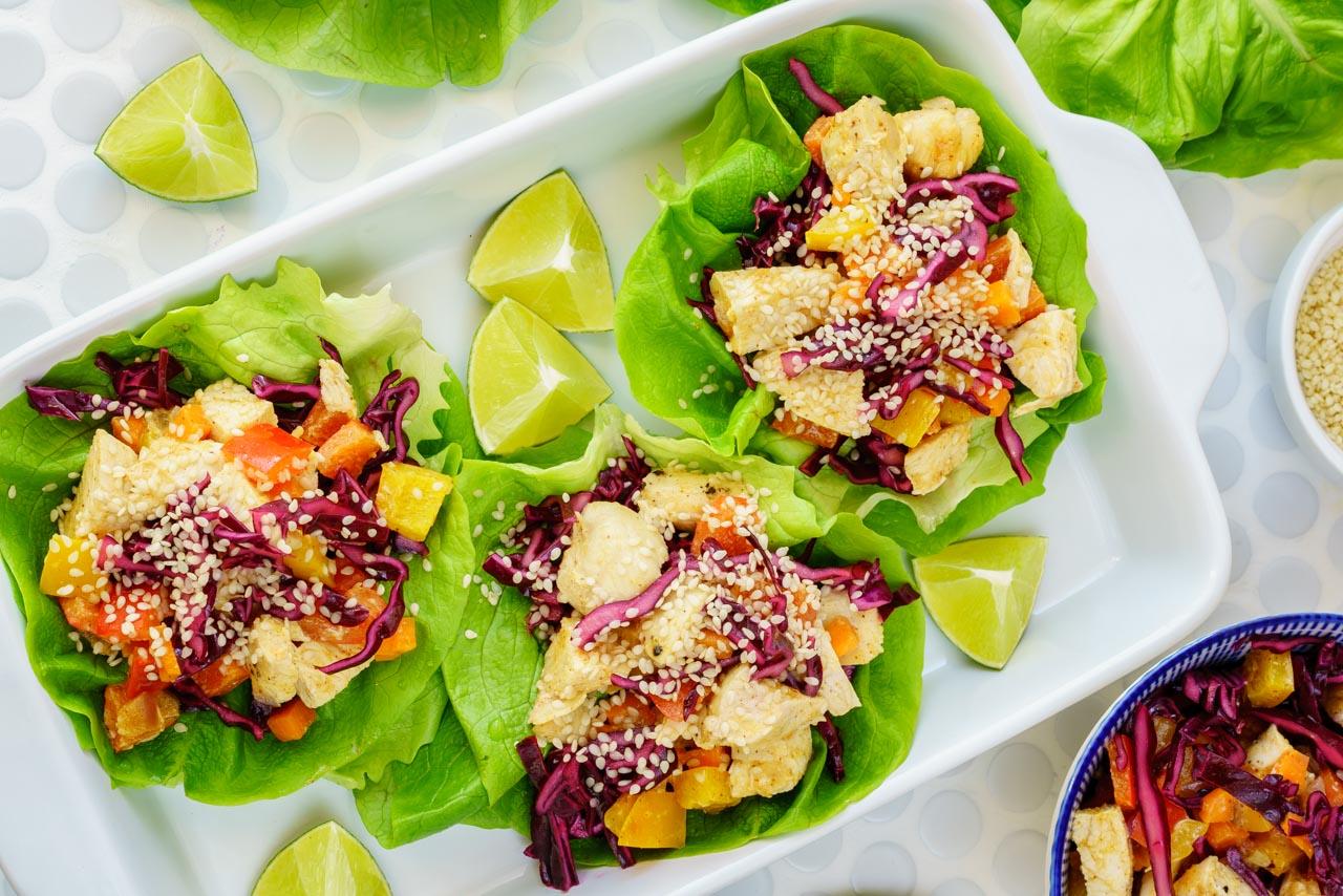 CleanFoodCrush Thai Chicken Lettuce Wraps