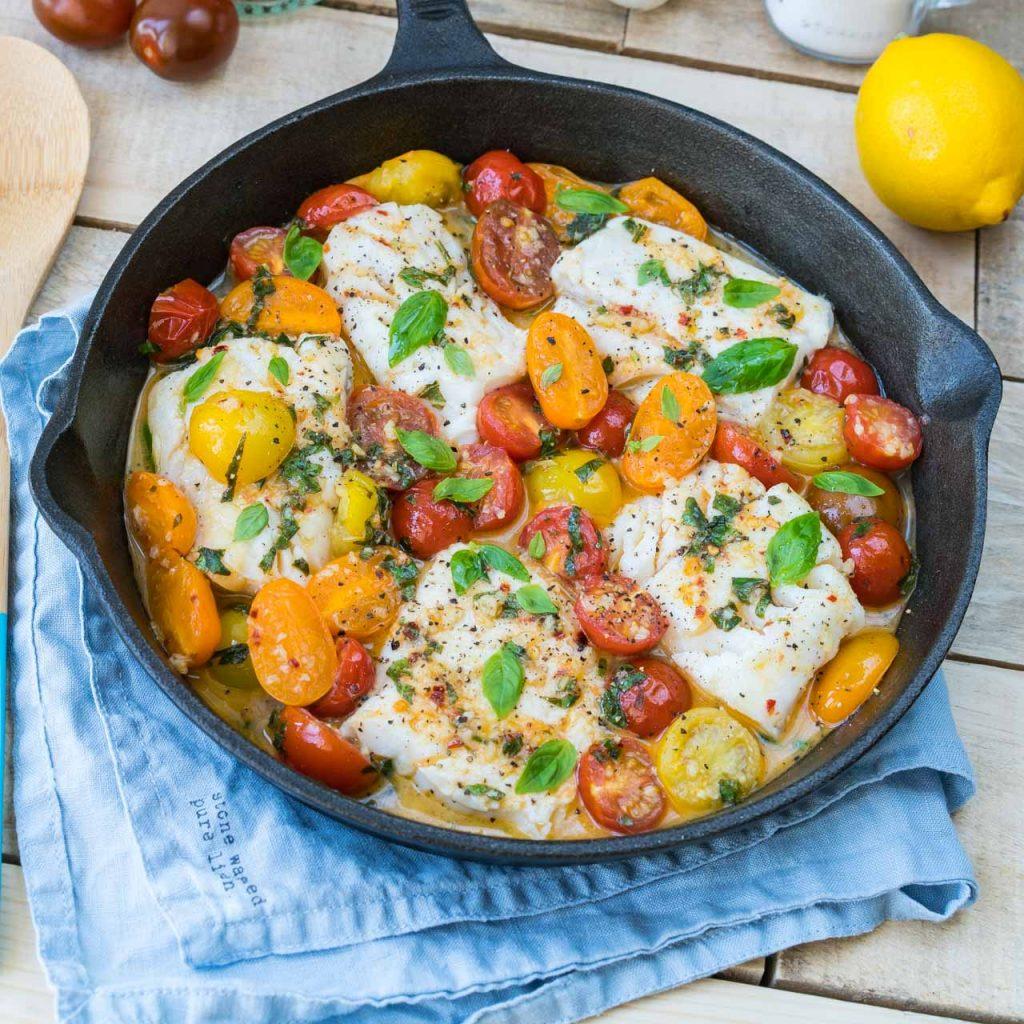 Cod in Fresh Tomato Basil Sauce