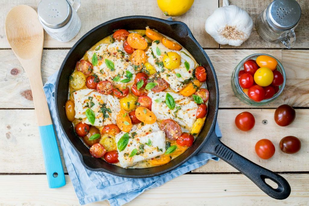 One pan fresh Cod and Tomato Basil Sauce