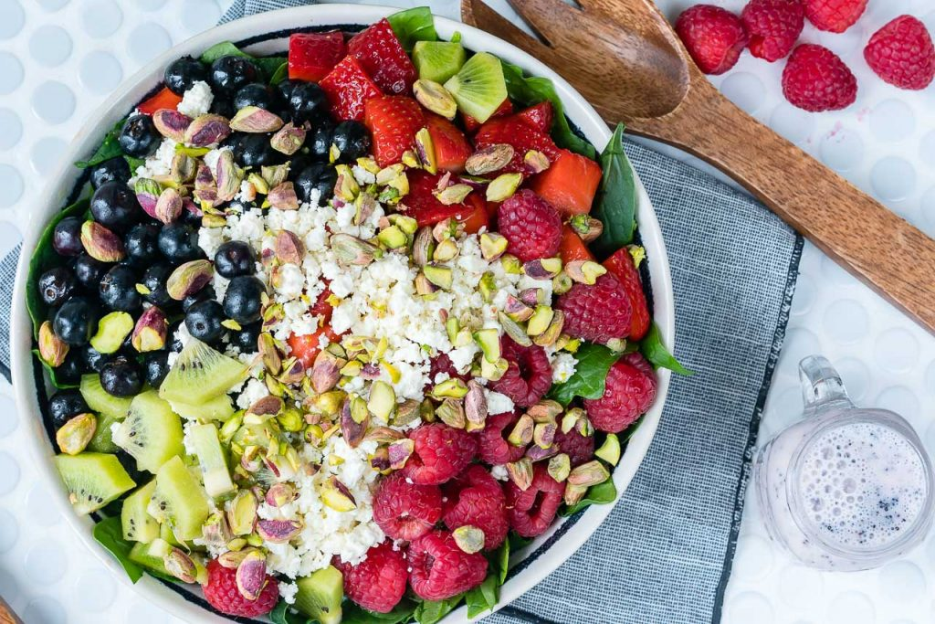 Eat Clean Berry Feta Spinach Salad + Fresh Strawberry Dressing