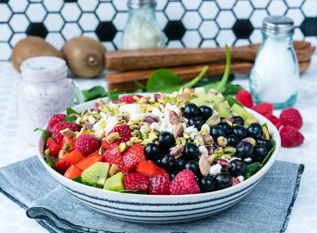Berry Feta Spinach Salad Fresh Strawberry Dressing Recipe
