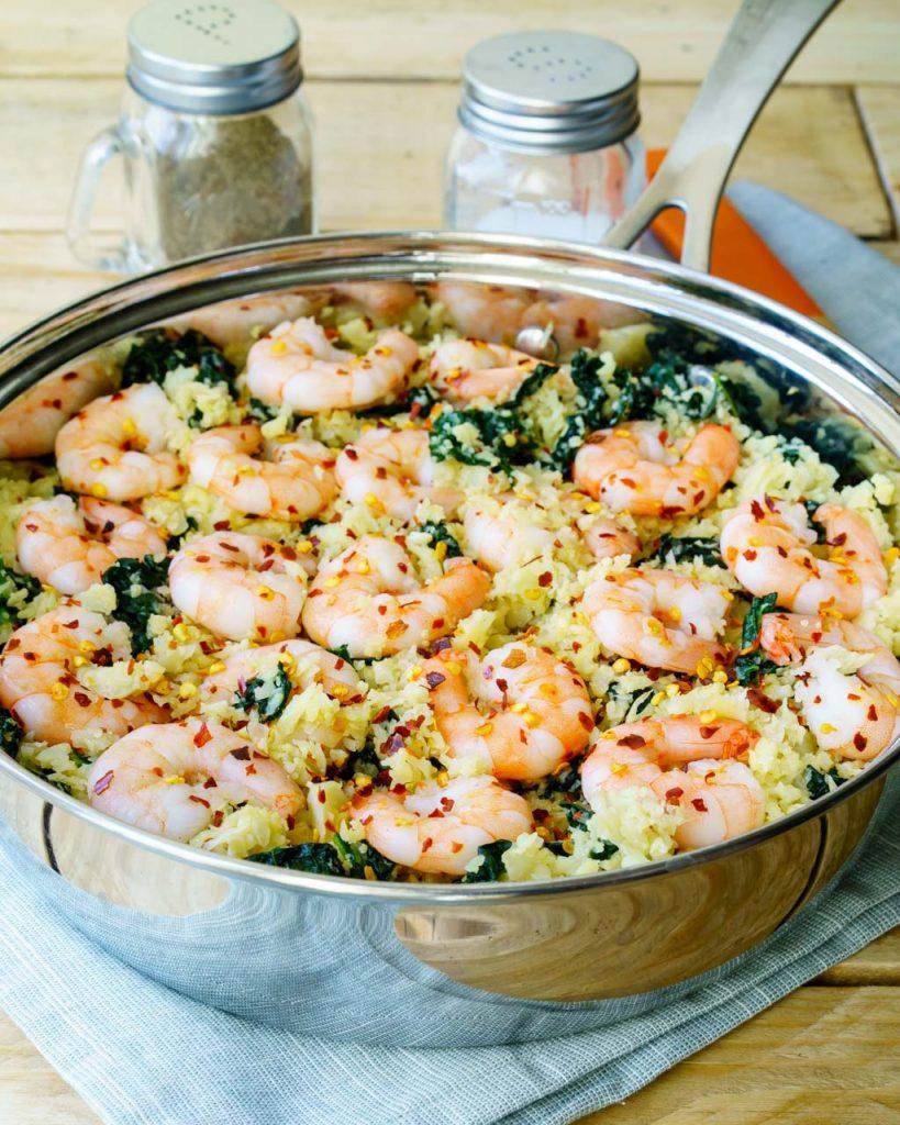 Clean Food Spicy Shrimp Cauliflower Rice Meal