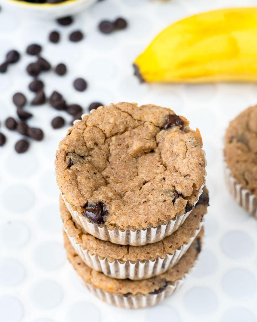 Clean Banana Chocolate Chip Muffins