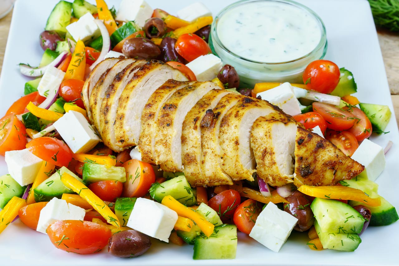 Greek Lemon Garlic Chicken Salad CleanFoodCrush
