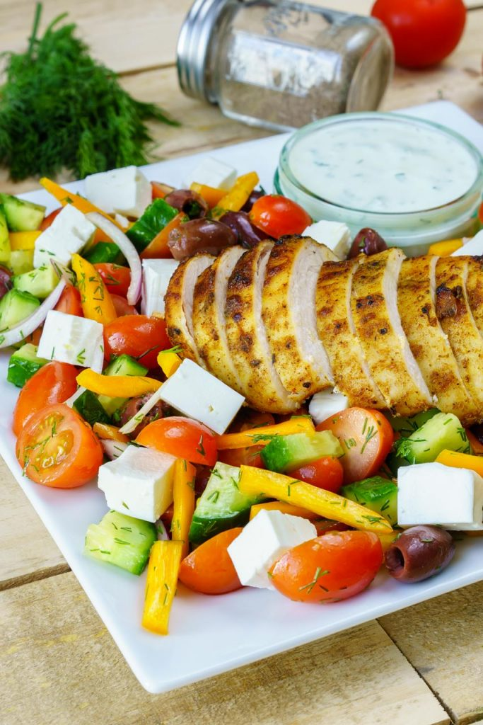 Greek Chicken Salad with lemon and garlic flavor