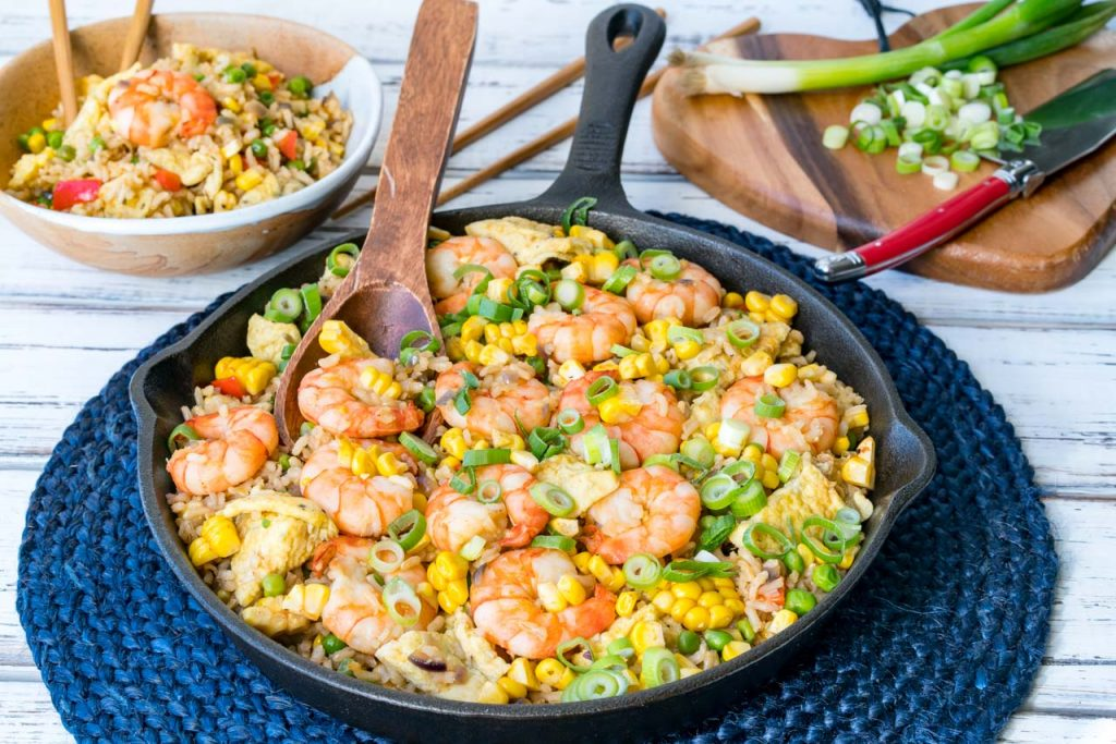Fried Rice Shrimp Corn Spring Onions