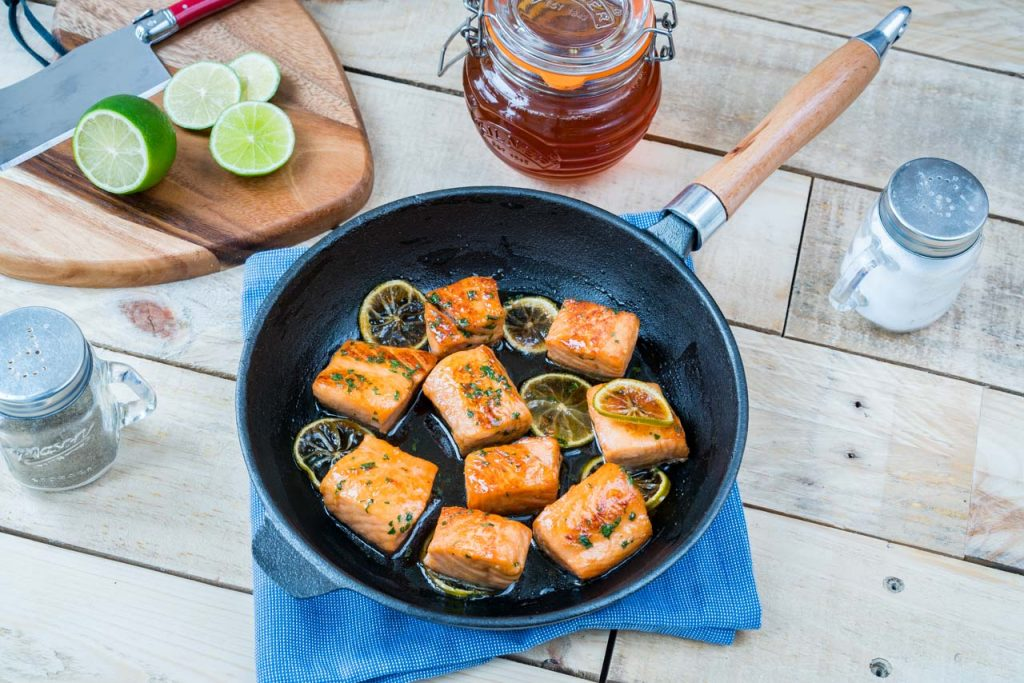 Sweet Honey Lime Salmon Cooking
