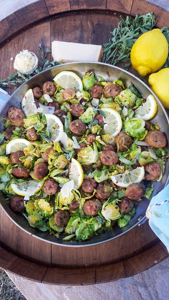 Healthy Italian Sausage and Shaved Brussel Sprouts