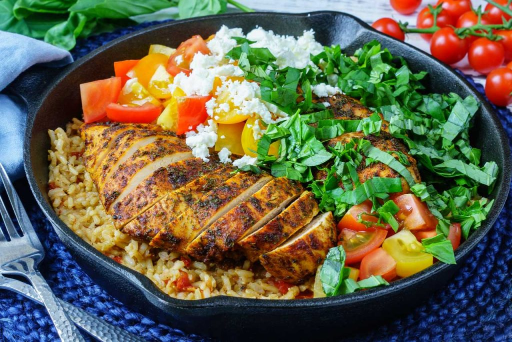 One Pan Greek Chicken + Rice CleanFoodCrush