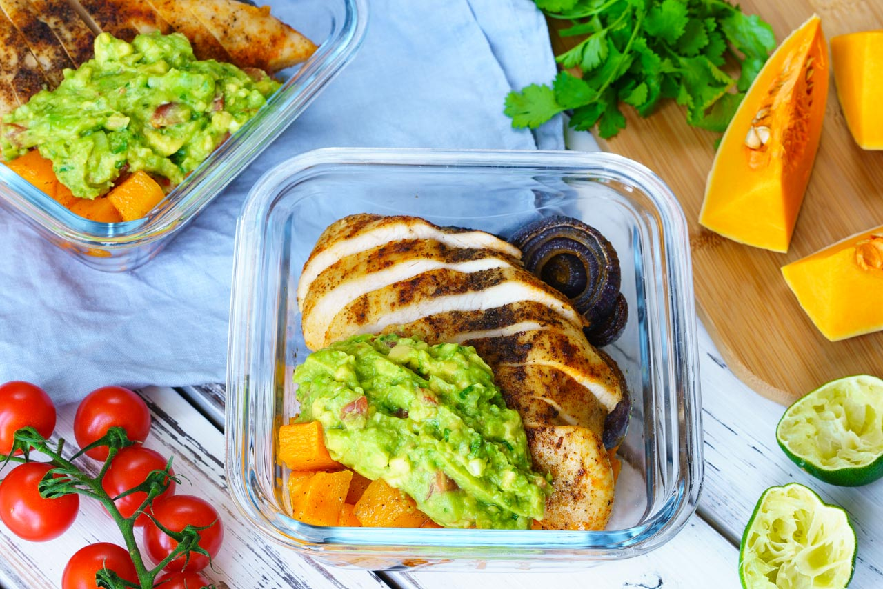 Roasted chicken veggies and guac bowls Meal Prep