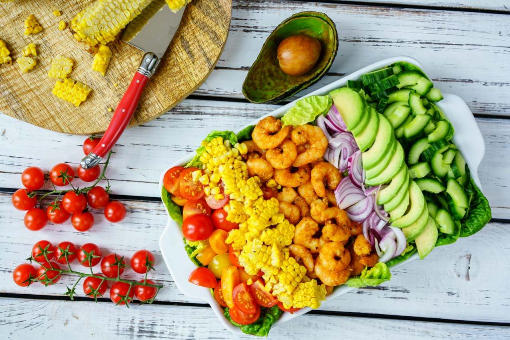 Flavorful Shrimp Avocado Corn and Chopped Lettuce