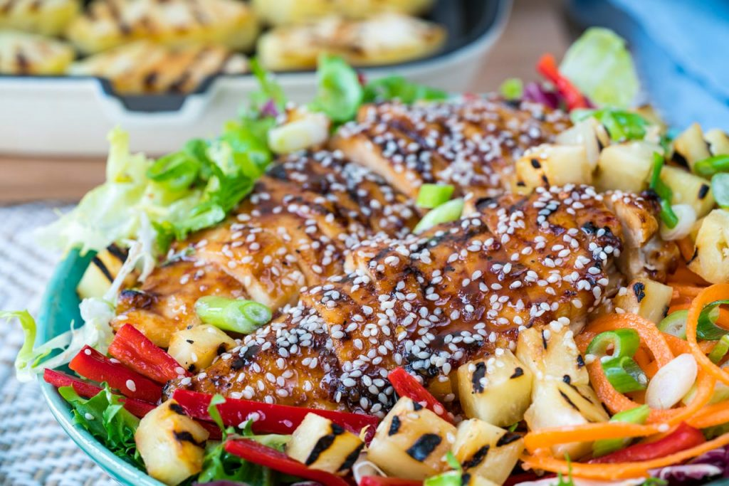 Homemade Teriyaki Chicken Salad Recipe with Pineapple Sauce