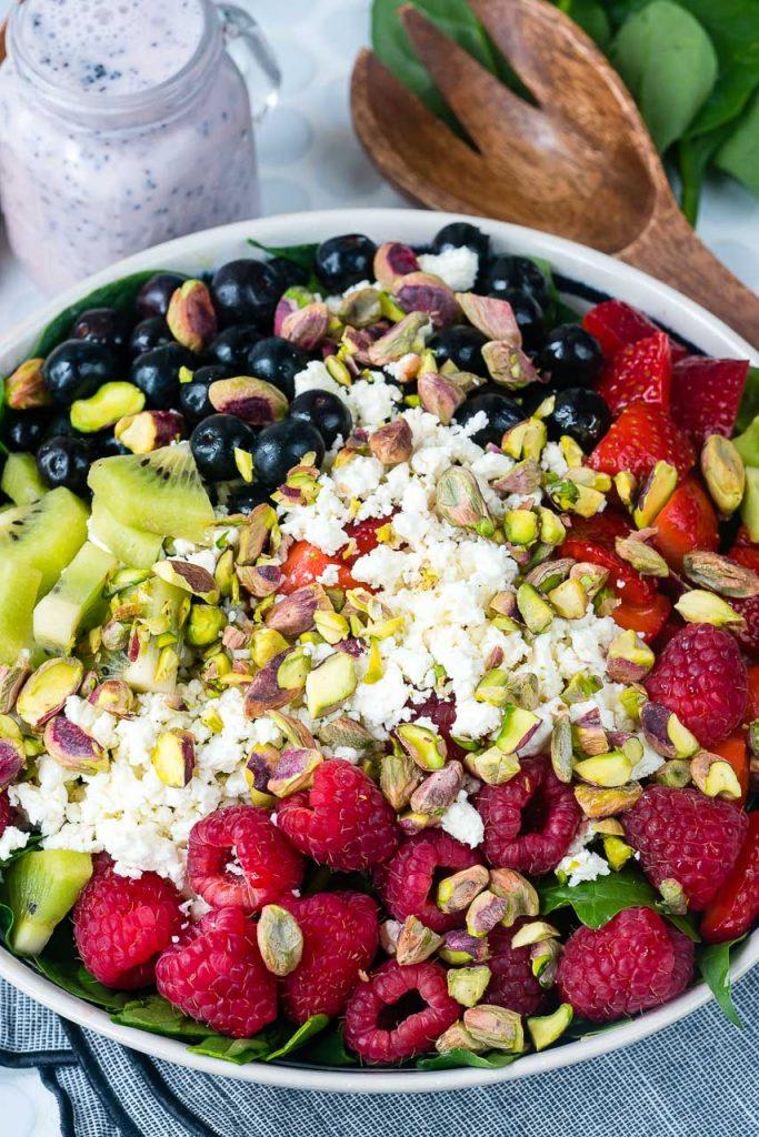 Triple Berry Spinach Feta Salad Recipe