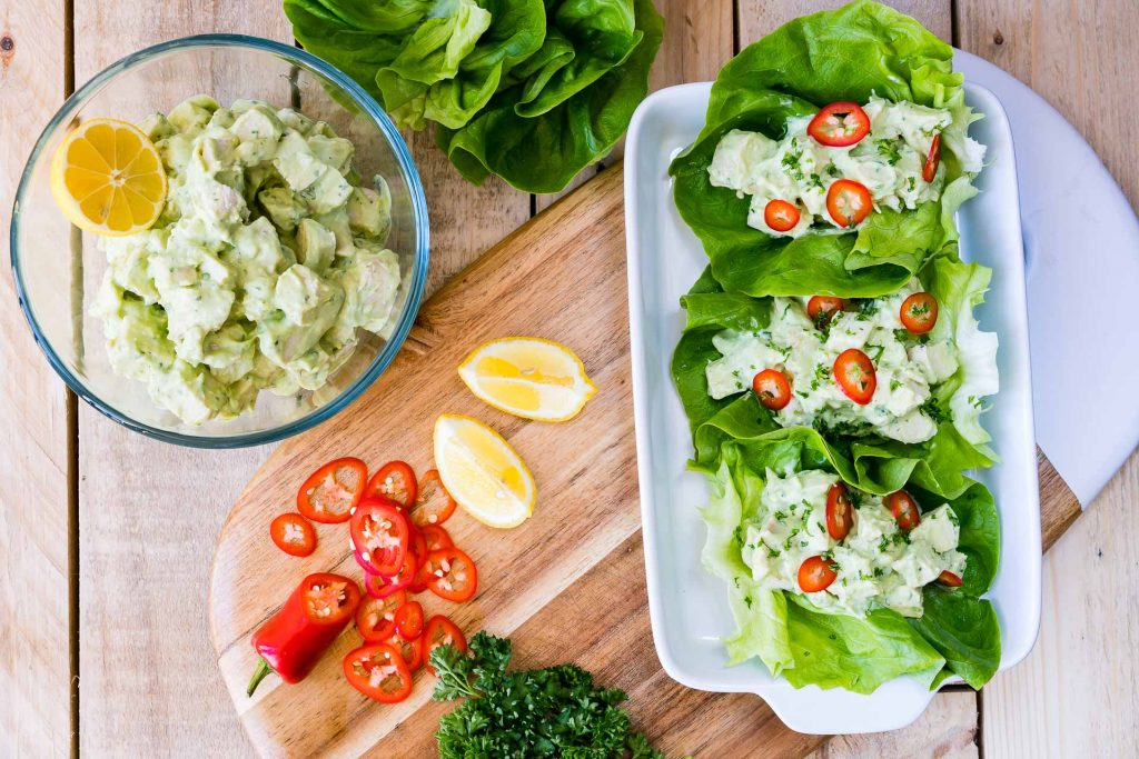 Healthy Lettuce Wraps Avocado Chicken Salad Recipe