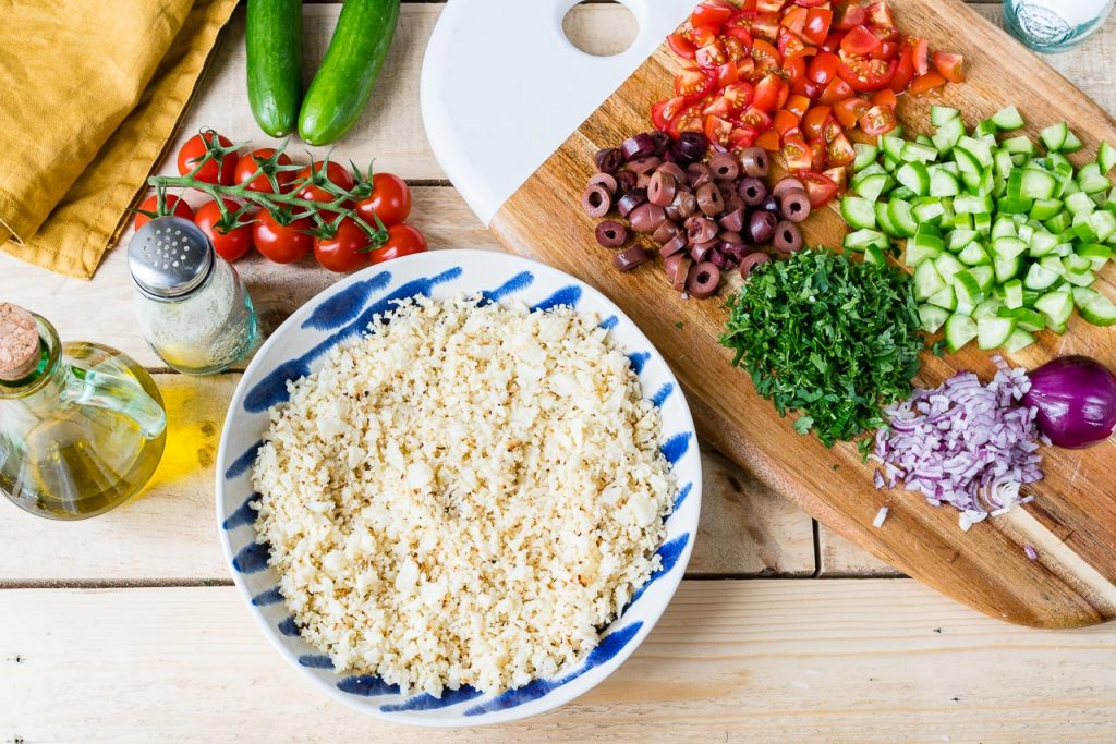Cauliflower Rice Tabbouleh lunch idea