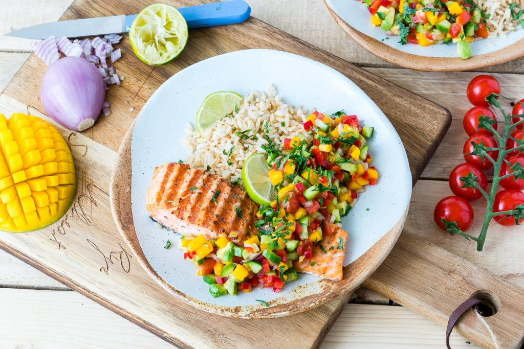 Clean Eating Grilled Lime Salmon Avocado Mango Salsa