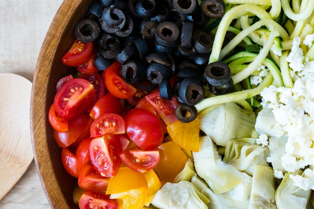 Clean Eating Mediterranean Zucchini Noodle Salad