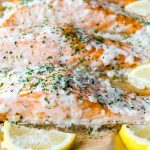 Clean Eating Oven Baked Salmon with Lemon Cream Sauce